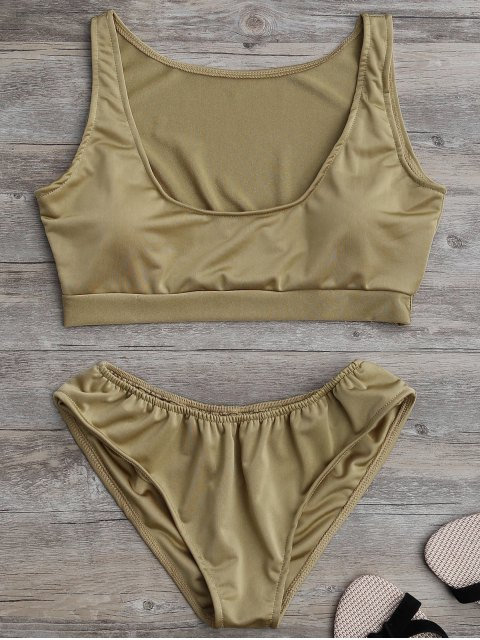 chic Padded U Neck Bathing Suit - KHAKI M Mobile