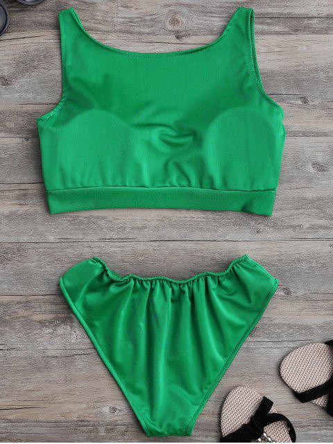 ladies Padded U Neck Bathing Suit - GREEN M Mobile
