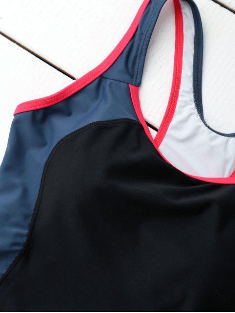 Maillot de bain à une pièce à style sportif à bretelle entrecroisée au dos - Noir S Mobile