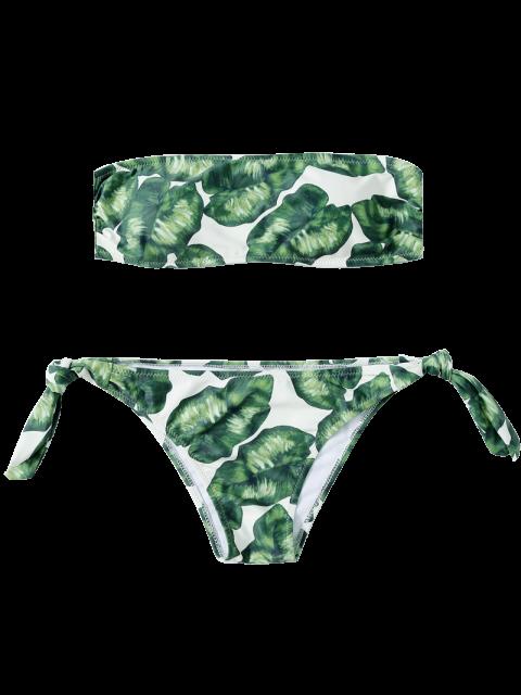 outfits Strapless Leaf Print Ruched Bikini Set - GREEN M Mobile