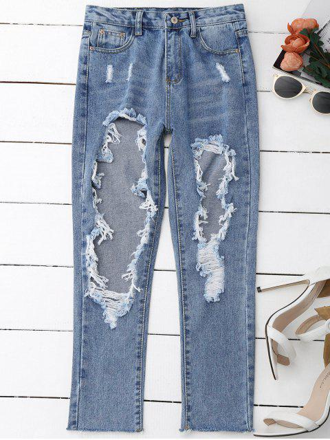 women Distressed Frayed Jeans - DENIM BLUE S Mobile