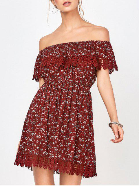 shops Lace Trim Off The Shoulder Dress - WINE RED S Mobile