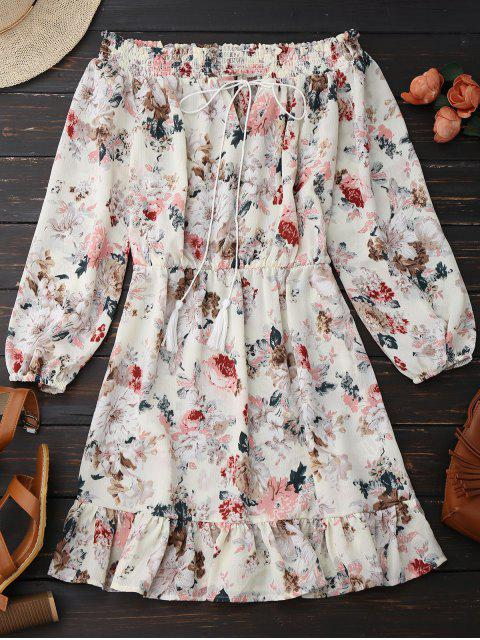 best Floral Off Shoulder Tie Front Holiday Dress - FLORAL L Mobile