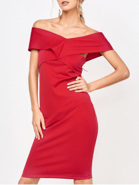 fashion Formal Off The Shoulder Sheath Dress - RED M Mobile