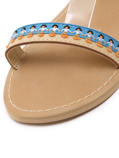 affordable Ankle Strap Pompon Tassels Sandals - APRICOT 37 Mobile