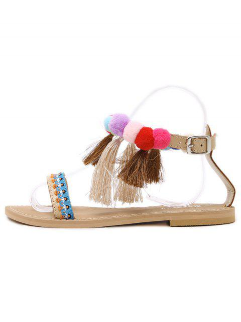 womens Ankle Strap Pompon Tassels Sandals - APRICOT 39 Mobile