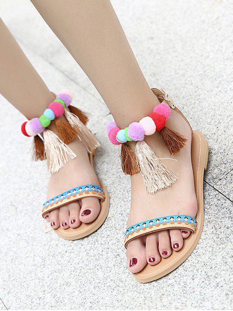 Chaussures à semelle à cheville Pompon Tassels Sandals - Abricot 40 Mobile