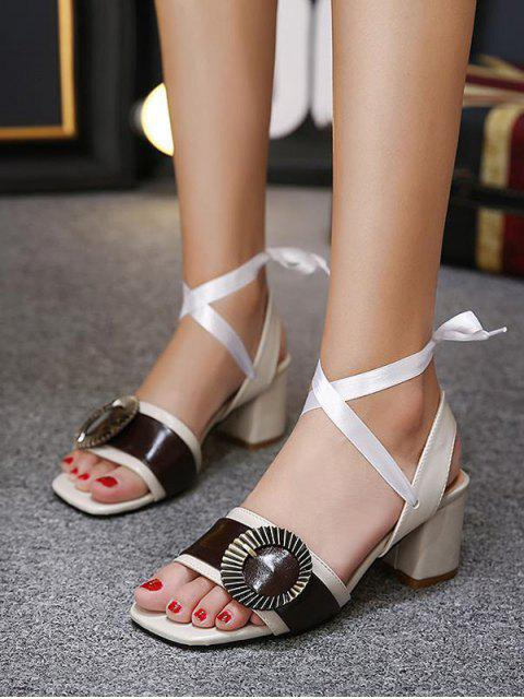 new Block Heel Slingback Buckle Strap Sandals - OFF-WHITE 38 Mobile