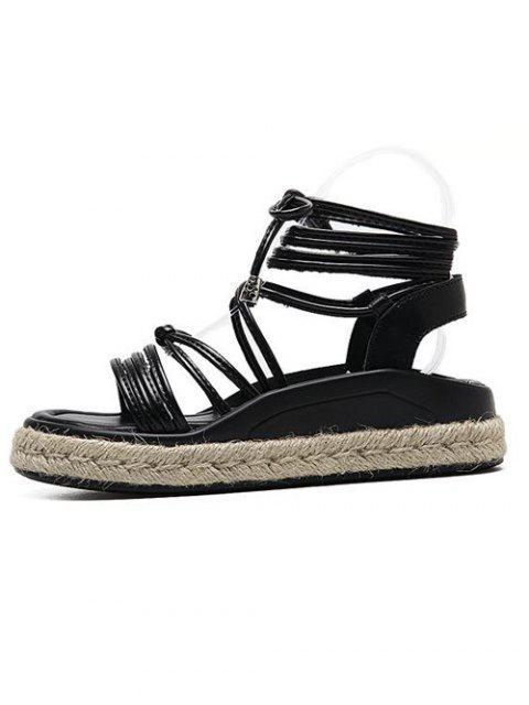 affordable Tie Up Espadrilles Faux Leather Sandals - BLACK 37 Mobile