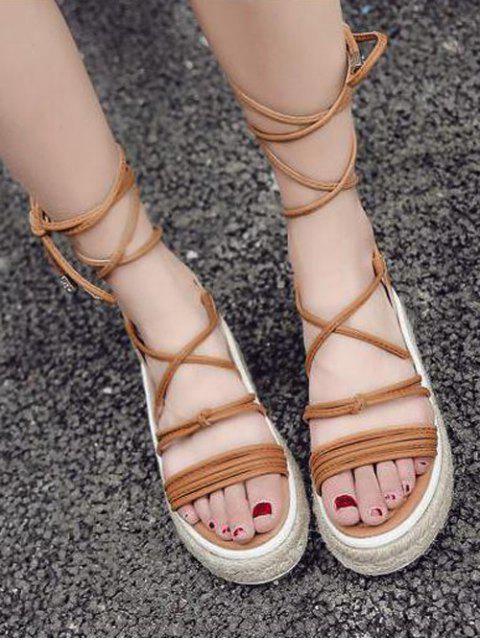 women's Tie Up Espadrilles Faux Leather Sandals - LIGHT BROWN 39 Mobile