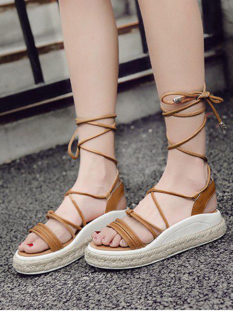lady Tie Up Espadrilles Faux Leather Sandals - LIGHT BROWN 37 Mobile