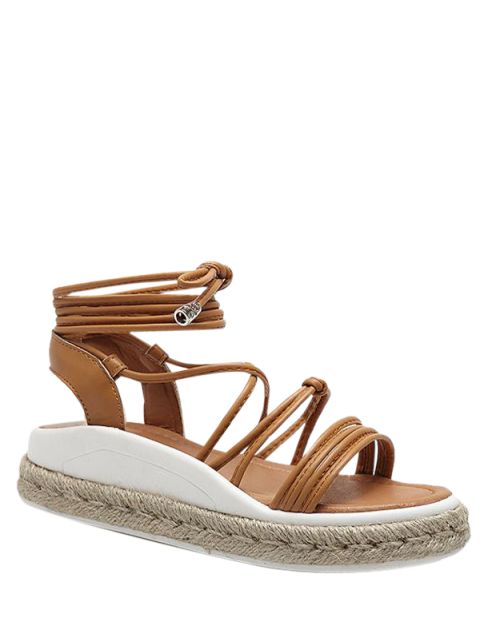 best Tie Up Espadrilles Faux Leather Sandals - LIGHT BROWN 38 Mobile