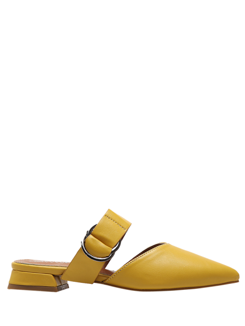 trendy Pointed Toe Metal Rings Faux Leather Slippers - YELLOW 37 Mobile