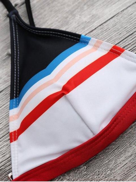 sale Striped Spaghetti Straps Padded Bikini Set - WHITE S Mobile