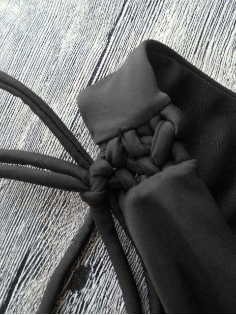 womens Plunging Neck Back Tie String Bikini Set - BLACK L Mobile