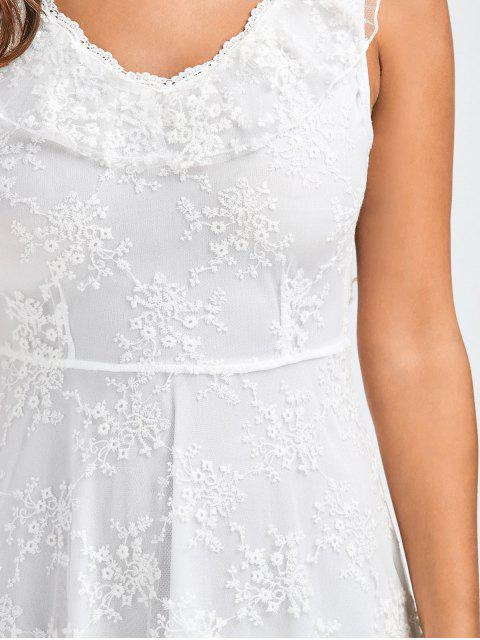 outfit Open Back Lace Tulle Lace Up Dress - WHITE S Mobile
