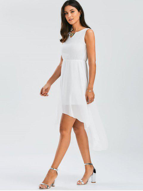 outfits Beaded High Low Sleeveless Chiffon Dress - WHITE L Mobile
