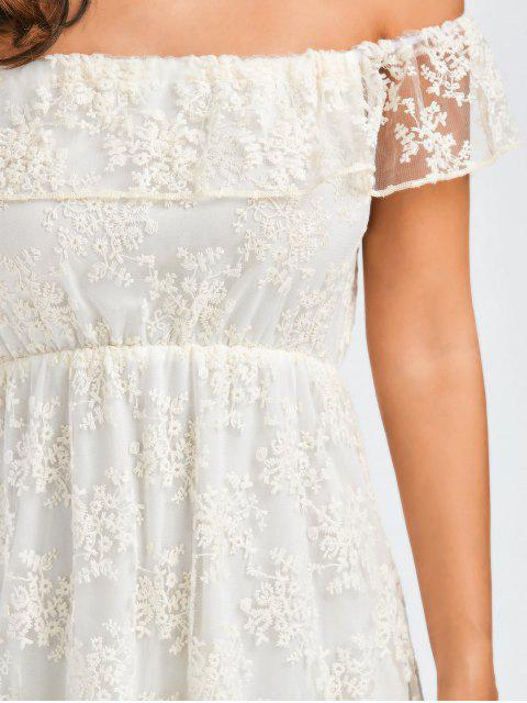 trendy Off Shoulder Ruffle Lace Wedding Dress - WHITE L Mobile