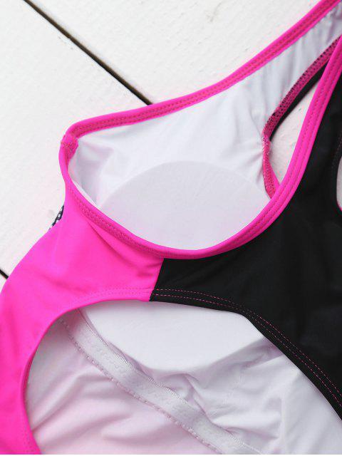 Combinaison de bain en une seule pièce à barbarie contrastante - Rose XL Mobile