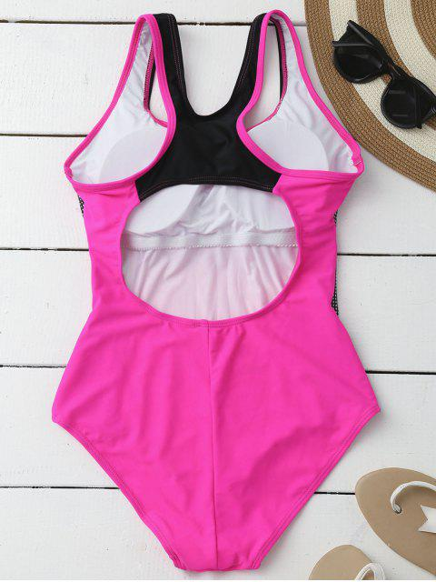 best Contrasting Tummy Control One Piece Swimsuit - ROSE XL Mobile
