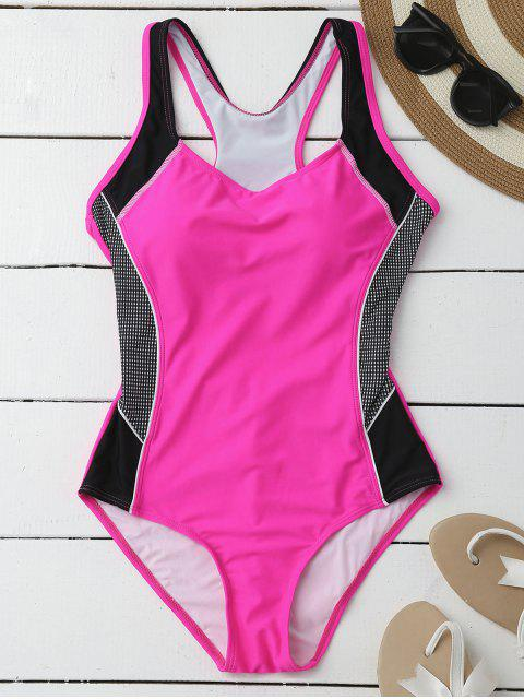 online Contrasting Tummy Control One Piece Swimsuit - ROSE L Mobile