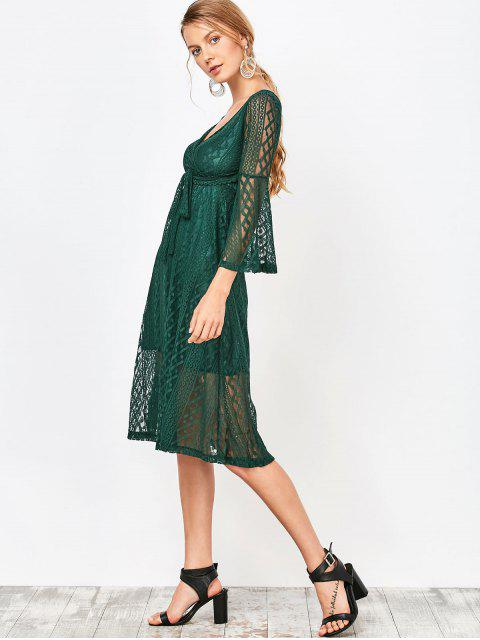fancy Empire Waist Surplice Lace Dress - DEEP GREEN XL Mobile