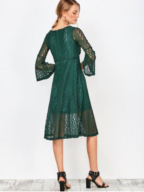 sale Empire Waist Surplice Lace Dress - DEEP GREEN M Mobile