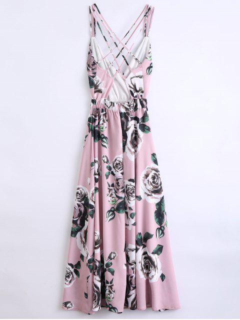 outfit Floral Strappy Beach Dress - PINK S Mobile