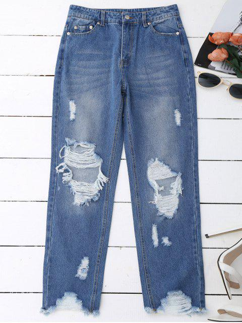 hot Distressed Raw Hem Jeans - DENIM BLUE S Mobile