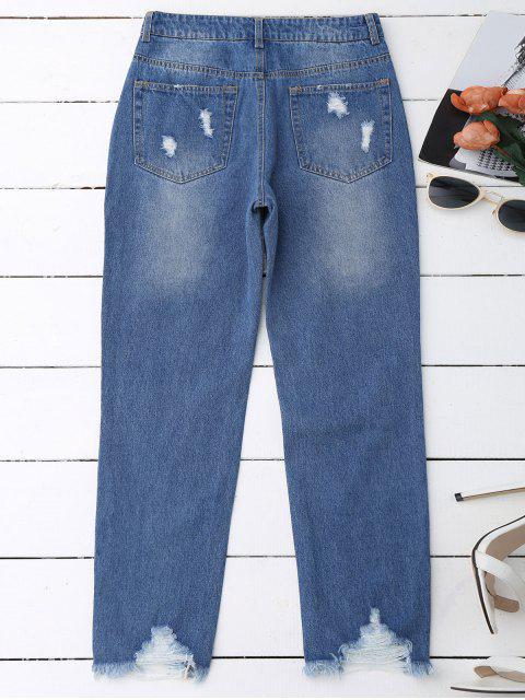 outfits Distressed Raw Hem Jeans - DENIM BLUE L Mobile