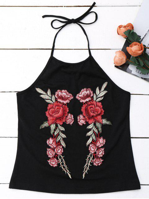 latest Embroidered Rose Halter Tank Top - BLACK S Mobile