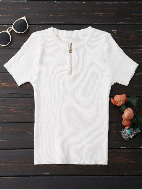 unique Half Zipper Short Sleeve Knit Top - WHITE ONE SIZE Mobile