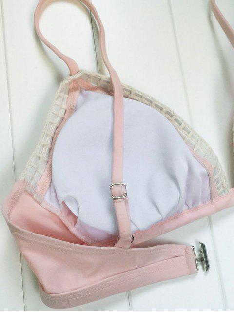 shop Piped Pink Bikini Set - PINK L Mobile