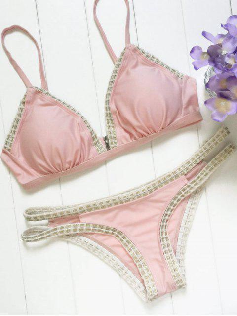 shops Piped Pink Bikini Set - PAPAYA M Mobile