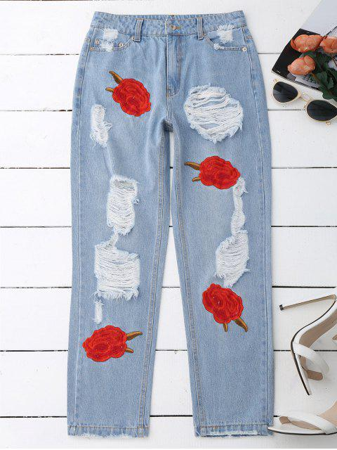affordable Flower Embroidered Ripped Jeans - DENIM BLUE M Mobile