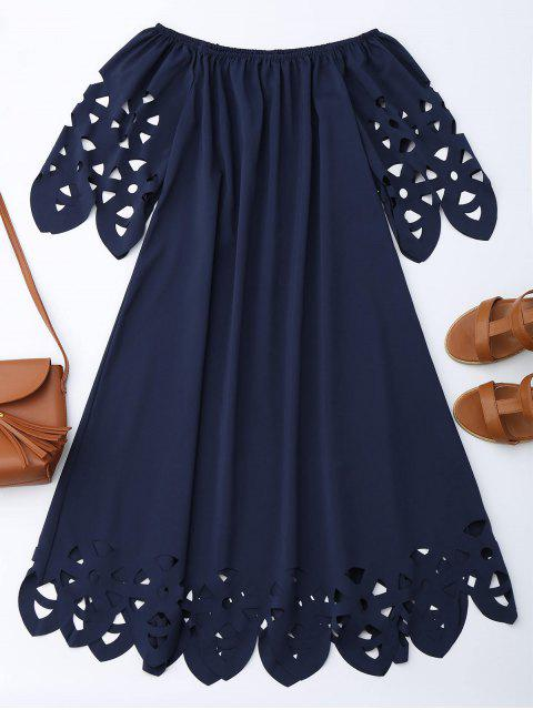 women's Off The Shoulder Flared Dress - PURPLISH BLUE M Mobile