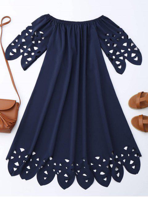 Vestido de Encaje con Vuelo con Hombros al Aire - Azul Purpúreo S Mobile