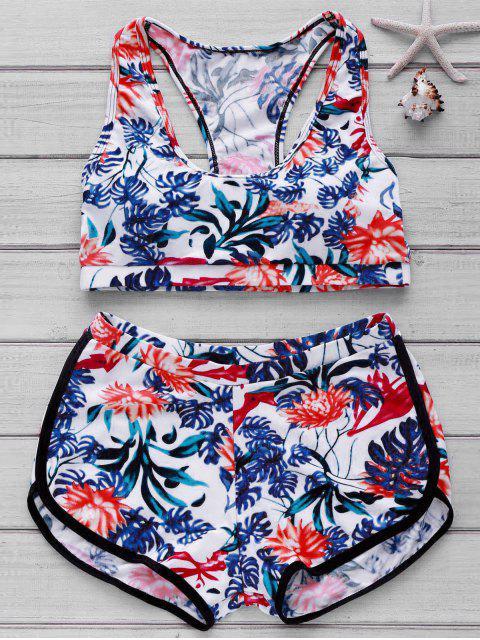 Bikini avec haut imprimée et bas de boyshorts - Floral M Mobile