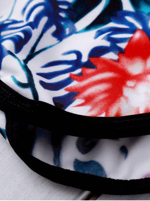 Bikini avec haut imprimée et bas de boyshorts - Floral L Mobile