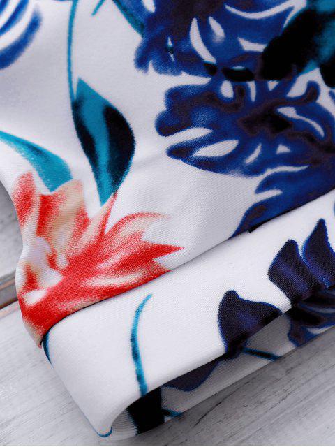 women's Printed Crop Top and Boyshorts Bikini - FLORAL XL Mobile