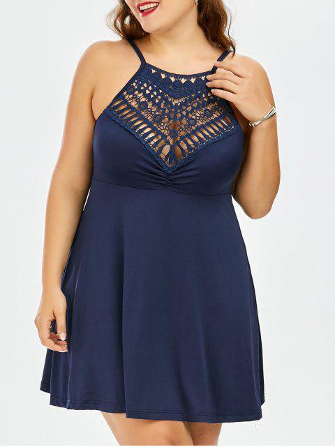 fancy Plus Size Lace Trim Empire Waist Slip Dress - PURPLISH BLUE 3XL Mobile