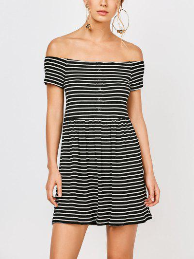 Striped Off Shoulder Casual Dress - Stripe S