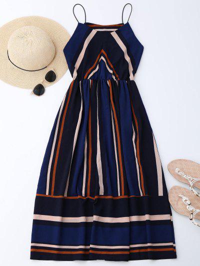 Mini Vestido De Sol De Multi-rayas Con Tirantes Finos - Raya L