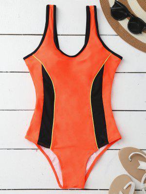 Sporty Adelgazamiento Acolchado Traje De Baño De Una Pieza - Naranja Xl