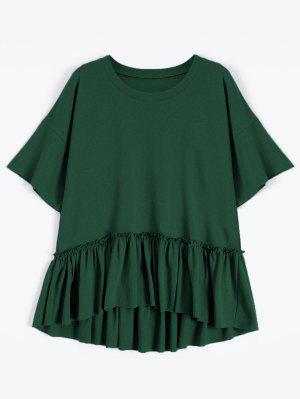 Camiseta De Manga Corta Con Volantes - Verde Negruzco