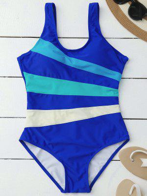 Stripes Slimming One Piece Swimsuit - Blue S