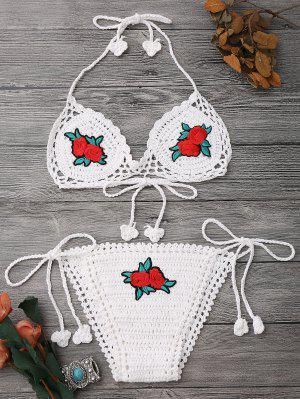 Traje De Bikini Con Thong De Ganchillo Con Parches Florales - Blanco