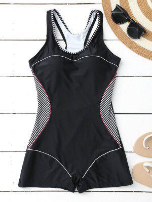 Racerback Boyleg One Piece Swimwear - Negro Xl