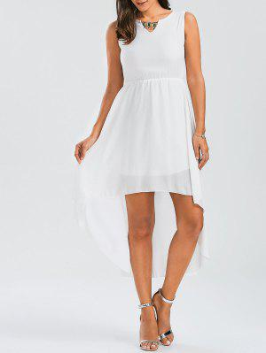 Beaded High Low Sleeveless Chiffon Dress - White L