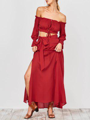 Cropped Off The Shoulder Top And Belted Slit A-Line Skirt - Red S